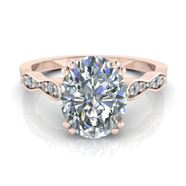 Rose Gold Oval Moissanite Ring Style Gtj3753 Oval Fo R Gerry The Jeweler