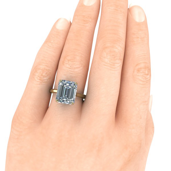 Emerald Cut Moissanite Engagement Ring #GTJ3899-emerald-fo-y-set | Gerry  The Jeweler