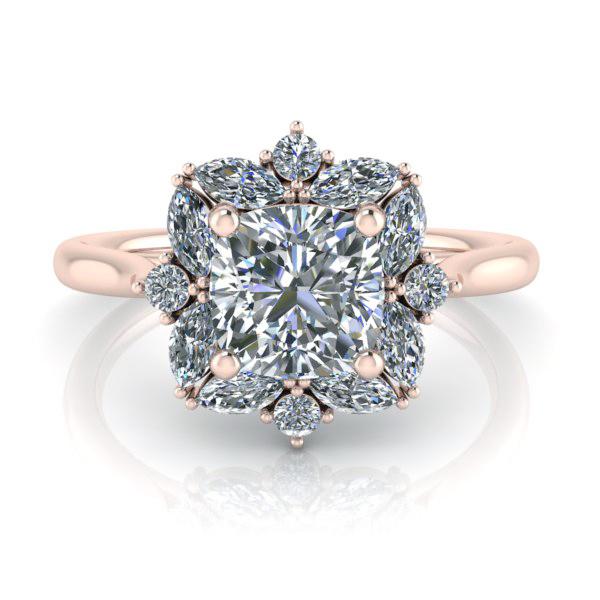 Custom Rose Gold Moissanite Engagement Ring Gtj3933 Cushion Fo R Gerry The Jeweler